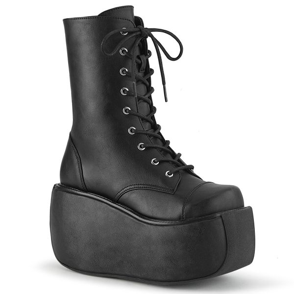 Product image of Demonia VIOLET-120 Black Vegan Faux Leather 3 1/2 inch Platform Lace-Up Ankle Boot Side Zip