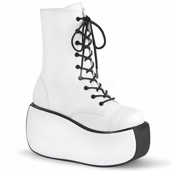 Product image of Demonia VIOLET-120 White Vegan Faux Leather 3 1/2 inch Platform Lace-Up Ankle Boot Side Zip