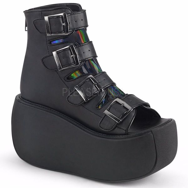 Product image of Demonia VIOLET-150 Black Vegan Faux Leather-Holographic 3 1/2 inch Platform Ankle Boot With  4 Buckles Straps Back Metal Zip Sandal Shoes