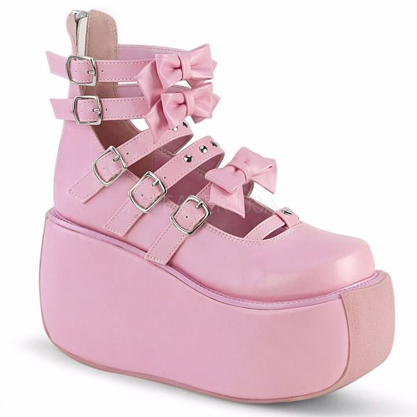 Product image of Demonia VIOLET-45 Baby Pink Vegan Faux Leather 3 1/2 inch Platform Strappy Ankle Boot Back Zip Court Pump Shoes