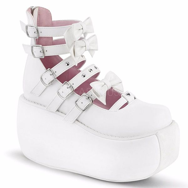 Product image of Demonia VIOLET-45 White Vegan Faux Leather 3 1/2 inch Platform Strappy Ankle Boot Back Zip Court Pump Shoes