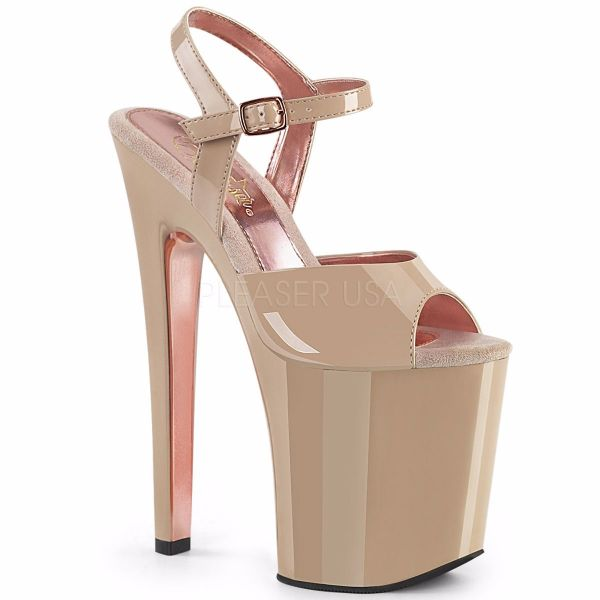 Product image of Pleaser XTREME-809TT Nude Patent/Nude-Rose Gold Chrome 8 inch (20 cm) Heel 4 inch (10 cm) Platform Two Tone Ankle Strap Sandal Shoes