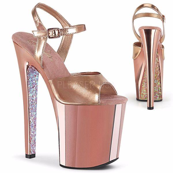 Product image of Pleaser XTREME-809TTG Rose Gold Metallic Polyurethane (Pu)/Rose Gold Chrome-Glitter 8 inch (20 cm) Heel 4 inch (10 cm) Platform Ankle Strap Sandal