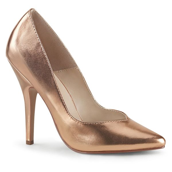 Product image of Pleaser SEDUCE-420V Rose Gold Metallic Polyurethane (Pu) 5 inch (12.7 cm) Heel Pointed Toe Pump Court Pump Shoes