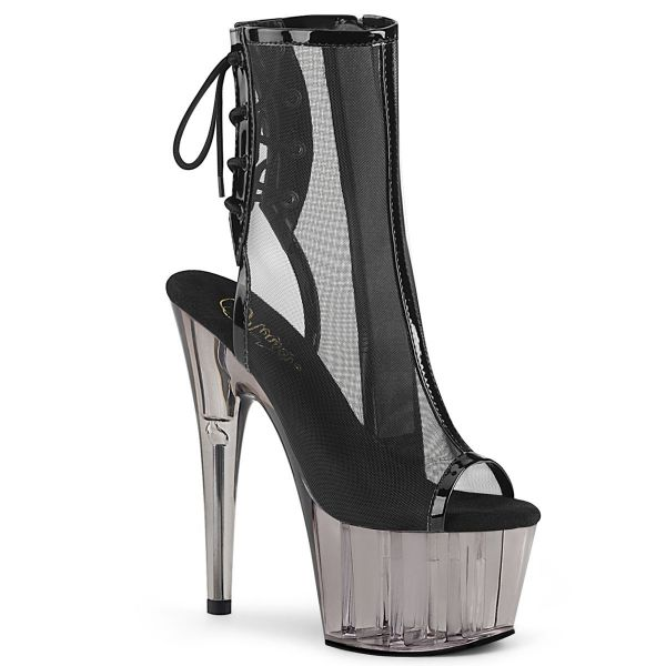 Product image of Pleaser ADORE-1018MSHT Black Patent-Mesh/Smoke Tinted 7 inch (17.8 cm) Heel 2 3/4 inch (7 cm) Tinted Platform Open Toe Ankle Boot Side Zip