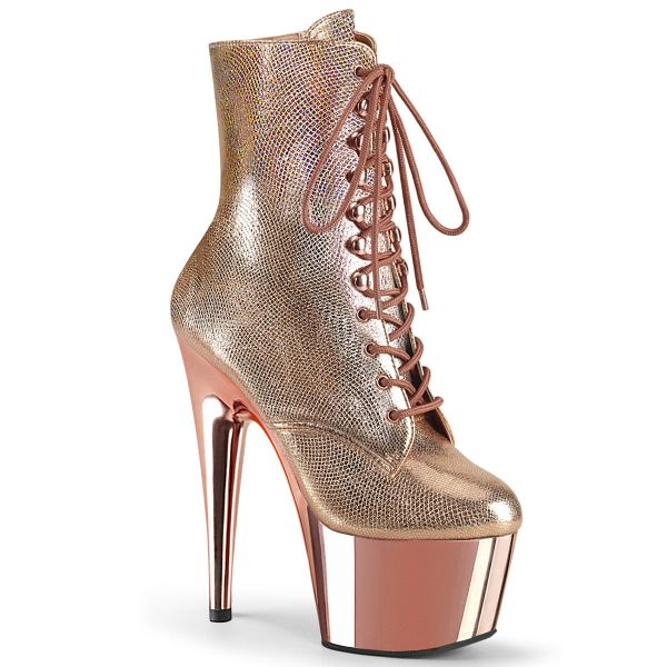 Product image of Pleaser ADORE-1020 Rose Gold Textured Metallic/Rose Goldchrome 7 inch (17.8 cm) Heel 2 3/4 inch (7 cm) Platform Lace-Up Front Ankle Boot Side Zip