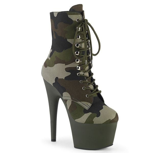 Product image of Pleaser ADORE-1020CAMO Green Camouflage Fabric/Dark Olive Matte 7 inch (17.8 cm) Heel 2 3/4 inch (7 cm) Platform Lace-Up Ankle Boot Side Zip