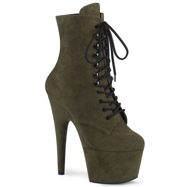 Product image of Pleaser ADORE-1020FS Emerald Green Faux Suede/Emerald Green 7 inch (17.8 cm) Heel 2 3/4 inch (7 cm) Platform Lace-Up Front Ankle Boot Side Zip