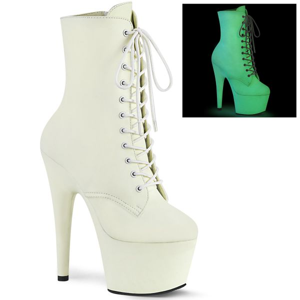 Product image of Pleaser ADORE-1020GD White Glow F.Faux Leather/White Glow F.Faux Leather 7 inch (17.8 cm) Heel 2 3/4 inch (7 cm) Platform Lace-Up Front Ankle Boot Side Zip