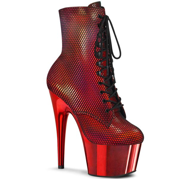 Product image of Pleaser ADORE-1020HFN Red Holographic/Red Chrome 7 inch (17.8 cm) Heel 2 3/4 inch (7 cm) Platform Lace-Up Front Ankle Boot Side Zip