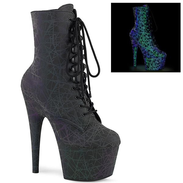 Product image of Pleaser ADORE-1020REFL Green-Purple Refl./Green-Purple Refl 7 inch (17.8 cm) Heel 2 3/4 inch (7 cm) Platform Lace-Up Front Ankle Boot Side Zip
