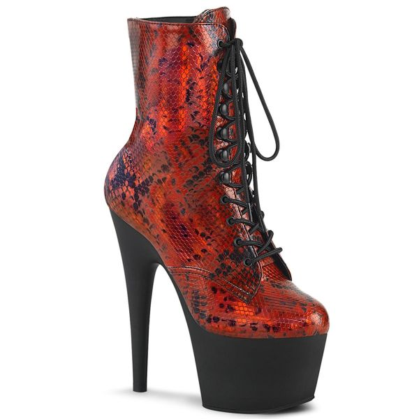 Product image of Pleaser ADORE-1020SP Red Holographic Animal Print Print/Black Matte 7 inch (17.8 cm) Heel 2 3/4 inch (7 cm) Platform Lace-Up Front Ankle Boot Side Zip
