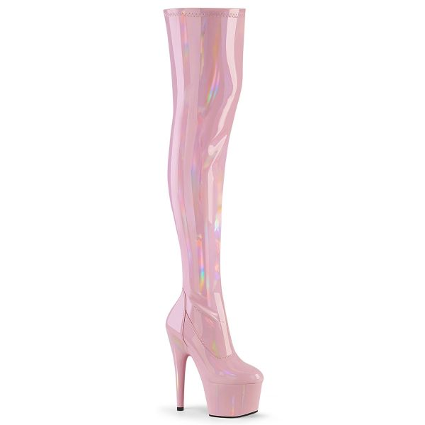 Product image of Pleaser ADORE-3000HWR Baby Pink Stretch Holographic/Baby Pink Holographic 7 inch (17.8 cm) Heel 2 3/4 inch (7 cm) Platform Stretch Thigh Boot Side Zip Thigh High Boot