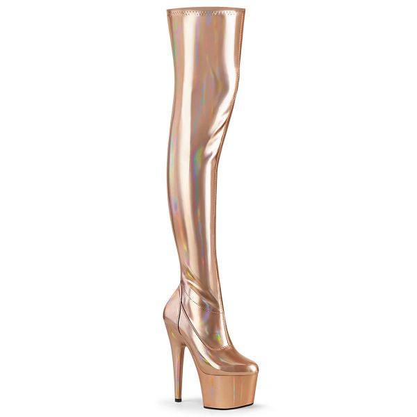 Product image of Pleaser ADORE-3000HWR Rose Gold Stretch Holographic/Rose Gold Holographic 7 inch (17.8 cm) Heel 2 3/4 inch (7 cm) Platform Stretch Thigh Boot Side Zip Thigh High Boot