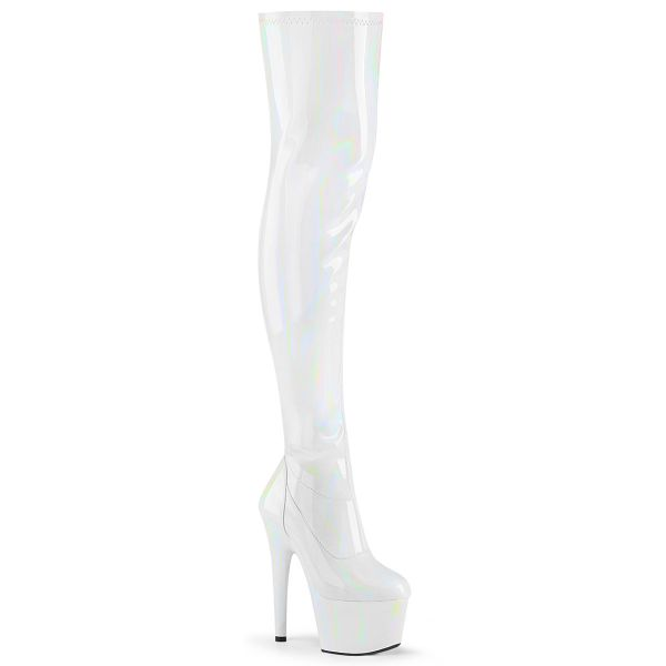 Product image of Pleaser ADORE-3000HWR White Stretch Holographic/White Holographic 7 inch (17.8 cm) Heel 2 3/4 inch (7 cm) Platform Stretch Thigh Boot Side Zip Thigh High Boot