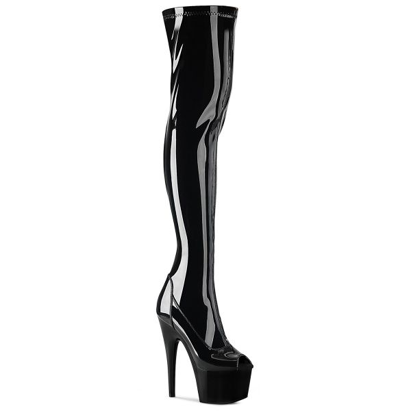 Product image of Pleaser ADORE-3011 Black Stretch Patent/Black 7 inch (17.8 cm) Heel 2 3/4 inch (7 cm) Platform Peep Toe Thigh High Boot Side Zip