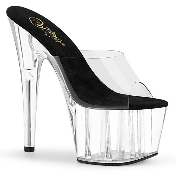 Product image of Pleaser ADORE-701 Clear-Black/Clear 7 inch (17.8 cm) Heel 2 3/4 inch (7 cm) Platform Slide Slide Mule Shoes