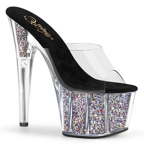 Product image of Pleaser ADORE-701CG Clear/Silver Confetti Glitter 7 inch (17.8 cm) Heel 2 3/4 inch (7 cm) Platform Slide With  Glitter Inserts Slide Mule Shoes