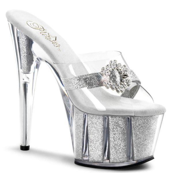 Product image of Pleaser ADORE-701HG Clear/Silver Glitter 7 inch (17.8 cm) Heel 2 3/4 inch (7 cm) Glitter Filled Platform Slide Slide Mule Shoes
