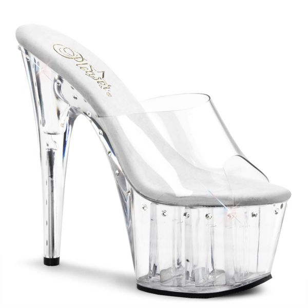 Product image of Pleaser ADORE-701LS Clear/Clear 7 inch (17.8 cm) Heel,2 3/4 inch (7 cm)Platform Slide 1 Line R/S On Platform And Heel Slide Mule Shoes
