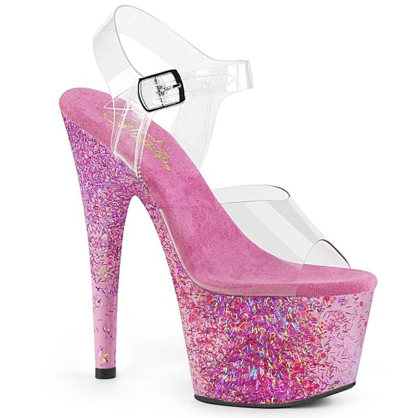 Product image of Pleaser ADORE-708CF Clear/Pink Confetti 7 inch (17.8 cm) Heel 2 3/4 inch (7 cm) Platform Ankle Strap Sandal Shoes