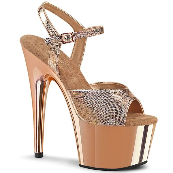 Product image of Pleaser ADORE-709 Rose Gold Textured Metallic/Rosegold Chrome 7 inch (17.8 cm) Heel 2 3/4 inch (7 cm) Platform Ankle Strap Sandal Shoes