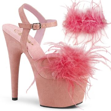 Product image of Pleaser ADORE-709F Baby Pink F.Faux Suede-Faux Feathers/Baby Pink F.Faux Suede 7 inch (17.8 cm) Heel 2 3/4 inch (7 cm) Platform Ankle Strap Sandal With Faux Feathers Shoes