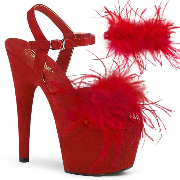 Product image of Pleaser ADORE-709F Red Faux Suede-Faux Feathers/Red Faux Suede 7 inch (17.8 cm) Heel 2 3/4 inch (7 cm) Platform Ankle Strap Sandal With Faux Feathers Shoes