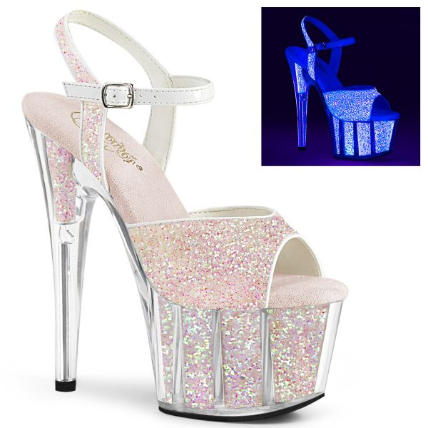 Product image of Pleaser ADORE-710UVG Neon Multicolour Glitter/Neon Multicolour Glitter 7 inch (17.8 cm) Heel 2 3/4 inch (7 cm) Platform Ankle Strap Sandal With Glitter Inserts
