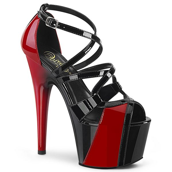 Product image of Pleaser ADORE-764 Black-Red Patent/Black-Red 7 inch (17.8 cm) Heel 2 3/4 inch (7 cm) Platform Two Tone Criss Cross Ankle Strap Sandal Shoes