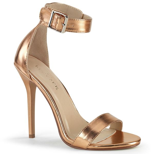 Product image of Pleaser AMUSE-10 Rose Gold Metallic Polyurethane (Pu) 5 inch (12.7 cm) Heel Close Back Sandal With  Buckles Ankle Strap Shoes