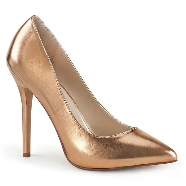 Product image of Pleaser AMUSE-20 Rose Gold Metallic Polyurethane (Pu) 5 inch (12.7 cm) Heel 3/8 inch (1 cm) Platform Hidden Platform Pump Court Pump Shoes