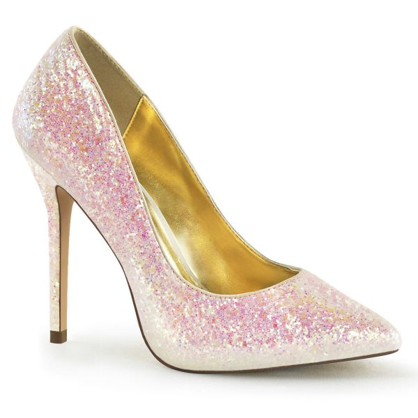 Product image of Fabulicious AMUSE-20G Rose Multicolour Glitter 5 inch (12.7 cm) Heel 3/8 inch (1 cm) Hidden Platform Pump Multicolour Court Pump Shoes