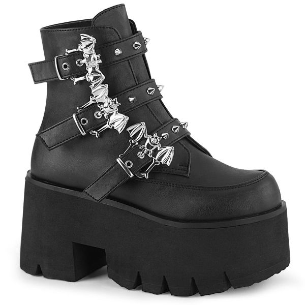 Product image of Demonia ASHES-55 Black Vegan Faux Leather 3 1/2 inch (9 cm) Chunky Heel Cut Out Platform Ankle Boot