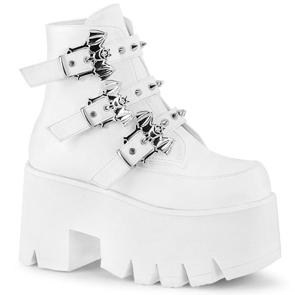 Product image of Demonia ASHES-55 White Vegan Faux Leather 3 1/2 inch (9 cm) Chunky Heel Cut Out Platform Ankle Boot