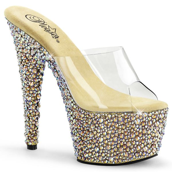 Product image of Pleaser BEJEWELED-701MS Clear/Gold Multicolour Rhinestones 7 inch (17.8 cm) Heel 2 3/4 inch (7 cm) Platform Slide With Multicolour Shaped Rhinestones Slide Mule Shoes