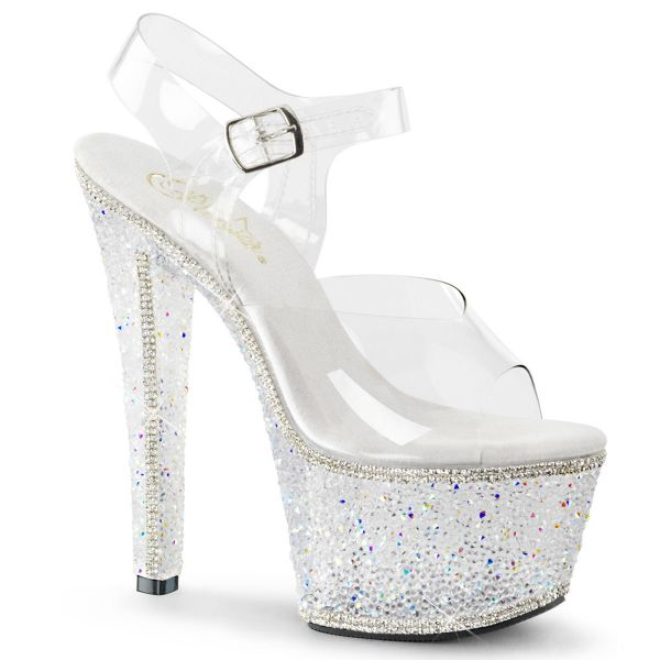 Product image of Pleaser BEJEWELED-708-2 Clear/Silver Multicolour Rhinestones 7 inch (17.8 cm) Heel 2 3/4 inch (7 cm) Platform Ankle Strap Sandal With Silver Multicolour Rhinestones Shoes