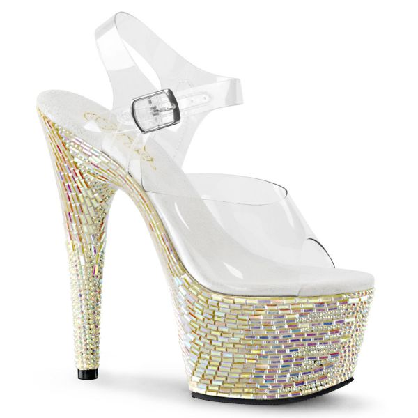 Product image of Pleaser BEJEWELED-708MR Clear/Pearl Holographic Rs-Tiles 7 inch (17.8 cm) Heel 2 3/4 inch (7 cm) Platform Ankle Strap Sandal With Rs