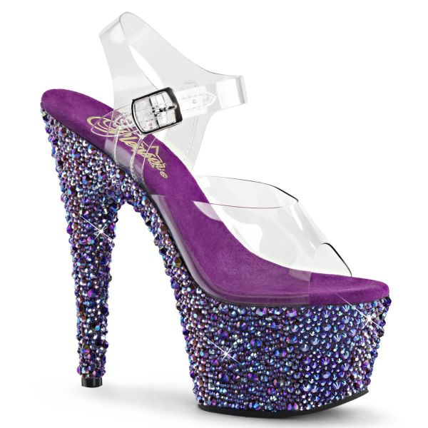 Product image of Pleaser BEJEWELED-708MS Clear/Purple Multicolour Rhinestones 7 inch (17.8 cm) Heel 2 3/4 inch (7 cm) Platform Ankle Strap Sandal With Multicolour Sized Rhinestones