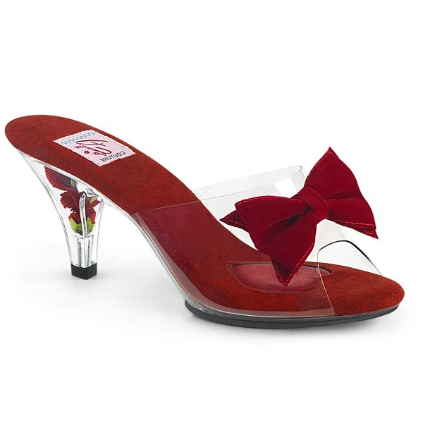 Product image of Pin Up Couture BELLE-301BOW Clear-Red/Clear 3 inch (7.6 cm) Heel 1/8 inch (0.3 cm) Mini Platform Slide With Bows Slide Mule Shoes
