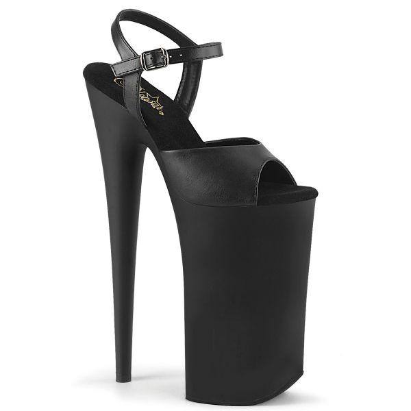 Product image of Pleaser BEYOND-009 Black Faux Leather/Black Matte 10 inch (25.5 cm) Heel 6 1/4 inch (16 cm) Platform Ankle Strap Sandal