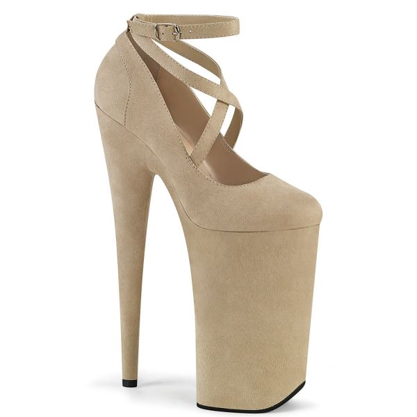 Product image of Pleaser BEYOND-087FS Beige Faux Suede/Beige Faux Suede 10 inch (25.5 cm) Heel 6 1/4 inch (16 cm) Platform Criss Cross Ankle Strap Pump