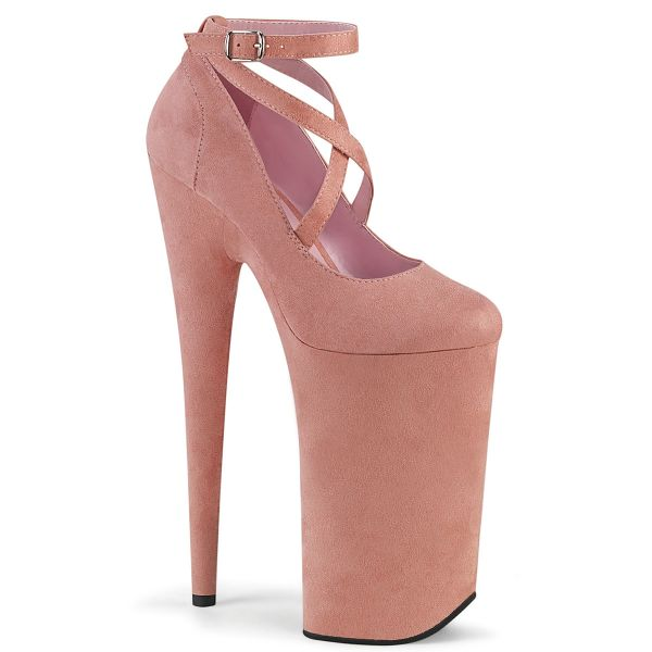 Product image of Pleaser BEYOND-087FS Baby Pink Faux Suede/Baby Pink Faux Suede 10 inch (25.5 cm) Heel 6 1/4 inch (16 cm) Platform Criss Cross Ankle Strap Pump