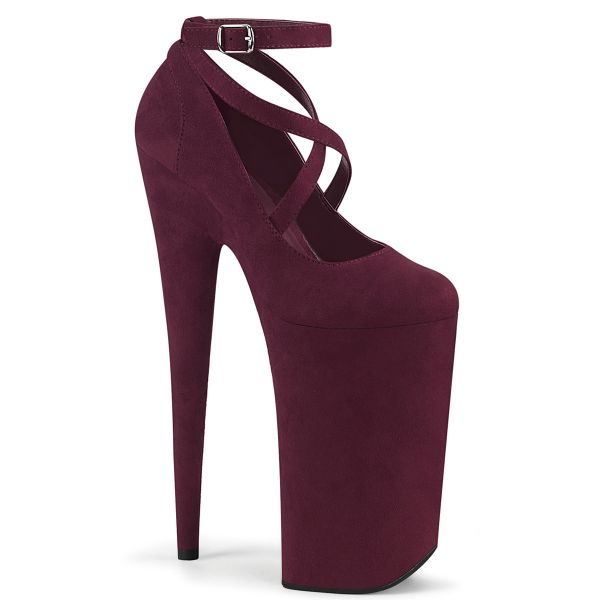 Product image of Pleaser BEYOND-087FS Burgundy Faux Suede/Burgundy Faux Suede 10 inch (25.5 cm) Heel 6 1/4 inch (16 cm) Platform Criss Cross Ankle Strap Pump