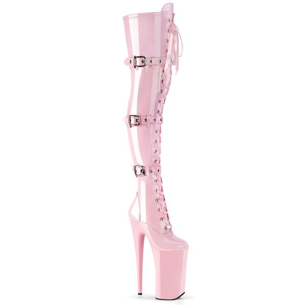 Product image of Pleaser BEYOND-3028 Baby Pink Stretch Patent/Baby Pink 10 inch (25.5 cm) Heel 6 1/4 inch (16 cm) Platform Lace-Up Front Thigh High Boot Side Zip