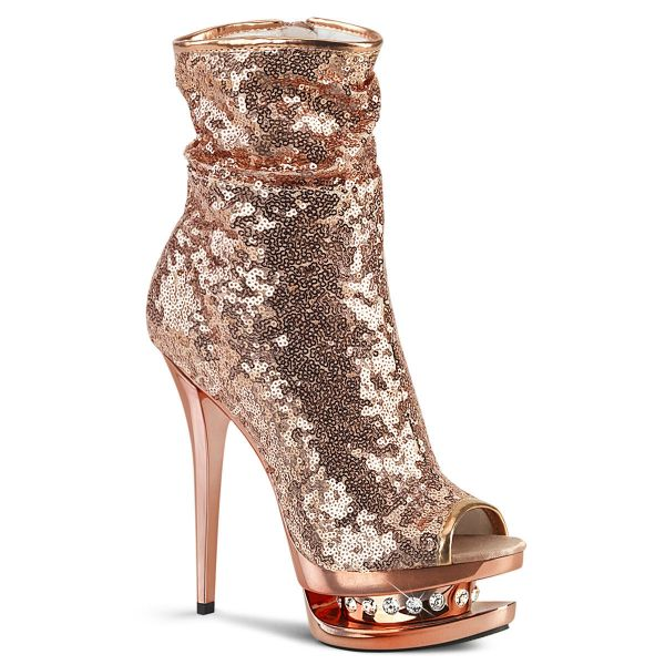 Product image of Pleaser BLONDIE-R-1008 Rose Gold Sequins/Rose Gold Chrome 6 inch (15.2 cm) Heel 1 1/2 inch (3.8 cm) Platform Sequins Open Toe Ankle Boot Side Zip