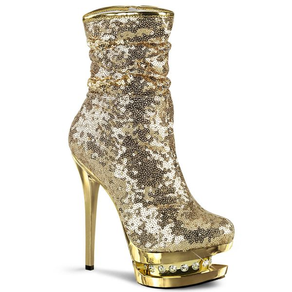 Product image of Pleaser BLONDIE-R-1009 Gold Sequins/Gold Chrome 6 inch (15.2 cm) Heel 1 1/2 inch (3.8 cm) Platform Sequins Ankle Boot Side Zip