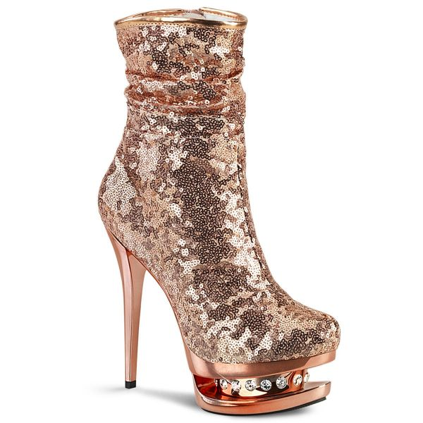 Product image of Pleaser BLONDIE-R-1009 Rose Gold Sequins/Rose Gold Chrome 6 inch (15.2 cm) Heel 1 1/2 inch (3.8 cm) Platform Sequins Ankle Boot Side Zip