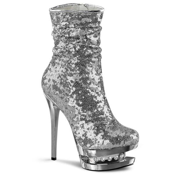 Product image of Pleaser BLONDIE-R-1009 Silver Sequins/Silver Chrome 6 inch (15.2 cm) Heel 1 1/2 inch (3.8 cm) Platform Sequins Ankle Boot Side Zip
