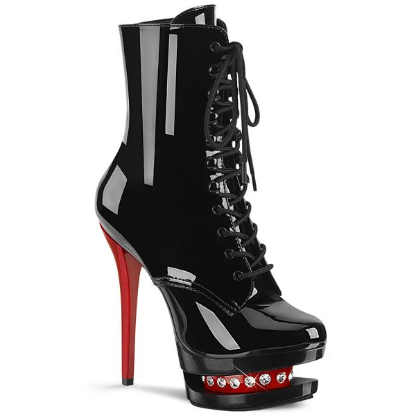 Product image of Pleaser BLONDIE-R-1020 Black Patent/Black-Red 6 inch (15.2 cm) Heel 1 1/2 inch (3.8 cm) Platform Two Tone Lace-Up Ankle Boot Side Zip